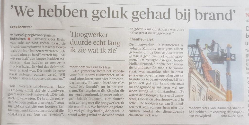 krantenartikel nav brand in Enkhuizen